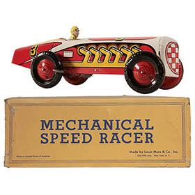 c.1947 Marx Mechanical (Boat Tail) Speed Racer #3 in Original Box