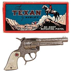 1940 Hubley, Cast Iron Texan Repeating Pistol in Original Box