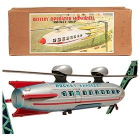 1956 Linemar, Battery Operated Monorail Rocket-Ship in Original Box