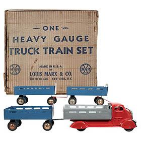 1938 Marx, Heavy Gauge Truck Train Set in Original Box
