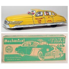 1950 Marx Mechanical Yellow Taxi Cab in Original Box